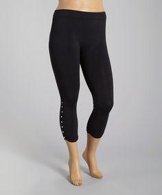 Look what I found on #zulily! Black Button-Detail Crop Leggings - Plus #zulilyfinds $11.74