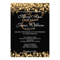 Elegant Wedding Gold Lights Custom Invitation