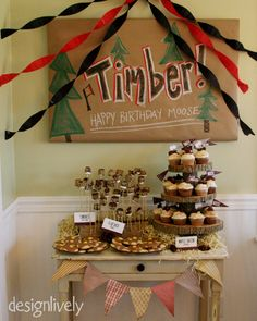 Dessert table - Becketts Flannel & Frost 1st birthday
