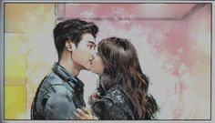 W Two Worlds. I love how this was reversed, because normally in kdrama kisses the girl is the one holding still wide eyed looking surprised. Lee Jong Suk, Jong Hyuk, Drama Film, Drama Movies, W Two Worlds Art, Kdrama W, W Two Worlds Wallpaper, K Pop, W Korean Drama