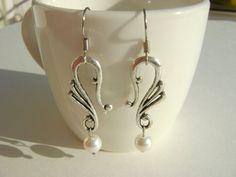 Wedding Dangling Vintage Earrings Creamrose Swarovski Pearls by NightLightCrafts, $18.00