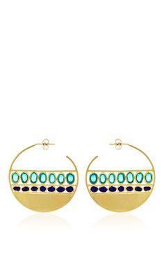 Emerald Marine Creole Pierced Earrings by Gripoix for Preorder on Moda Operandi