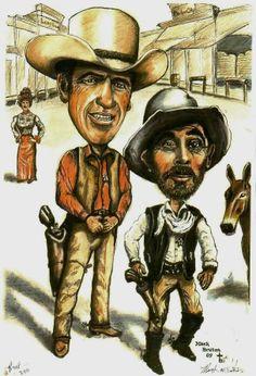 Gunsmoke ~ Matt and Festus Funny Caricatures, Celebrity Caricatures, Classic Cartoon Characters, Classic Cartoons, Cartoon Faces, Funny Faces, Tv Westerns, Caricature Drawing, Cowboy Art