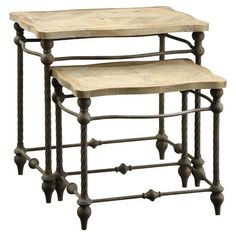 Featuring scalloped wood tops and elegant metal frames, these handsome nesting tables offer the perfect surface for resting canapes and cocktails at your nex...