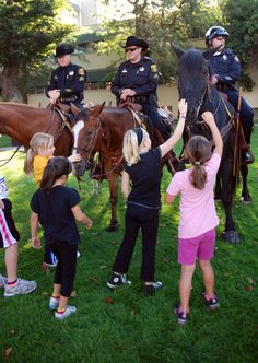 The horses of the mounted posse attracted kids'. The officers and their horses were part of the Peace Officer Memorial Run. Central Valley, Giving Back, Unconditional Love, Health And Wellness, Something To Do, California, Peace, Events, Horses