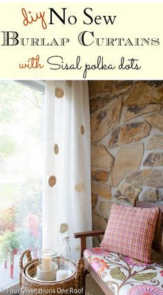 No Sew DIY white burlap curtains with twisted sisal roping embellishment-- maybe try an idea with burlap rosettes?