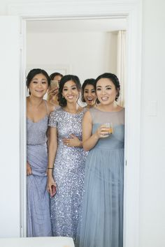 Dusty Blue, Gray and Gold San Francisco City Hall Wedding Dusty Blue Bridesmaid Dresses, Dusty Blue Weddings, Bridesmaids And Groomsmen, Wedding Bridesmaid Dresses, Dusty Blue Dress, Bridesmade Dresses, Formal Dresses, Blue Wedding Flowers, Wedding Colors