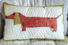 coussin, patchwork, paper piecing, teckel