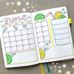 Perfect for summer - or really any time of the year these 40 juicy Citrus Bullet Journal Theme Ideas will have you running for your orange and yellow markers! Bullet Journal June, Bullet Journal Monthly Spread, Bullet Journal Themes, Bullet Journal Notebook, Bullet Journal Layout, Bullet Journal Inspiration, Journal Ideas, Summer Journal, Journal Aesthetic