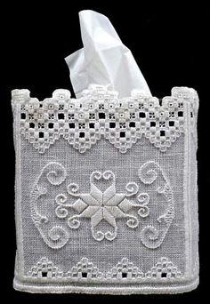 Hardanger tissue box cover designed by Rose Marie Schneider