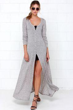 Cute Long Sweater - Grey Sweater - Grey Duster - $54.00