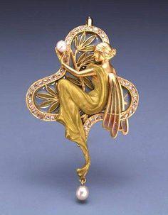 Art Nouveau - Pendentif - Or et Perles - Georges Fouquet et Alfons Mucha