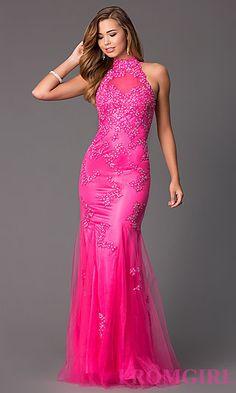 High Neck Sleeveless Floor Length Lace Embellished Dress at PromGirl.com