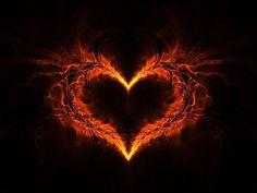 Fire Fractal Art Heart Love Abstract Backgrounds
