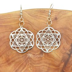 Star Tetrahedron Seed of Life Earrings Sterling Silver Plated Brass Sacred Geometry Jewelry