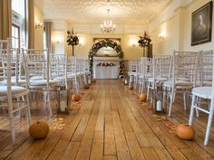nunsmere hall wedding flowers - wedding ceremony flowers - Autumn wedding ideas - wedding pumpkins - Laurel Weddings