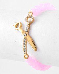 Shear / scissor pink beaded bracelet