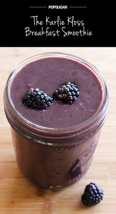 1 cup unsweetened almond milk 1 scoop chocolate protein powder of your choice 1 banana 1 cup blackberries