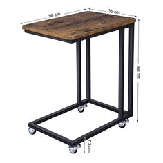 VASAGLE Industrial Side Table, Mobile Snack Table for Coffee Laptop Tablet, Slides Next to Sofa Couch, Wood Look Accent Furniture with Metal Frame Iron Furniture, Steel Furniture, Industrial Furniture, Pallet Furniture, Rustic Furniture, Vintage Furniture, Furniture Design, Accent Furniture, Industrial Design