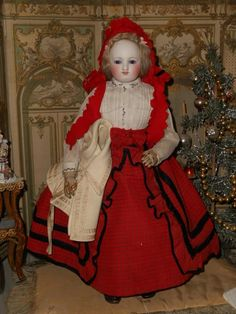 ~~~ Beautiful Early French Poupee with Gorgeous Costume ~~~ from whendreamscometrue on Ruby Lane