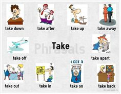 Take down, take off & take apart, among others, are different phrasal verbs you can have with the verb 'take'.check the photo below! How many sentences can you make with these phrasal verbs? English Tips, English Fun, English Study, English Class, English Lessons, Learn English, Improve Vocabulary, Grammar And Vocabulary, English Vocabulary
