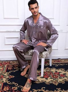 49bf44f512 Mens Silk Satin Pajamas Set Pyjamas Set Pjs Sleepwear Loungewear S