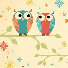 Two Owls on Branch Art Print by pictorialboom on Etsy