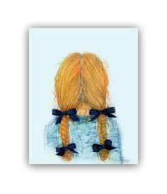 Baby Girl Nursery Wall Art for Girls Hairstyle by handpainting, $15.00