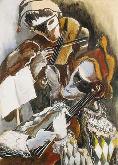 Arlequins violonistes masques, 1944, Ossip Zadkine. Russian (1890 - 1967)