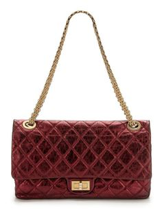 Burgundy Quilted Distressed Metallic Lambskin Maxi 2.55 228 Reissue Double Flap Bag by Chanel on Gilt.com