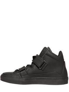ブラックカーフスニーカー GIACOMORELLI - MATTE LEATHER HIGH TOP SNEAKERS - BLACK | GIACOMORELLI ジァコモレリ | メンズ - 靴 - スニーカー | BLACK | 海外通販ならLASO(ラソ)