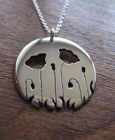 Silver Poppy Pendant Necklace by GorjessJewellery on Etsy, £55.00