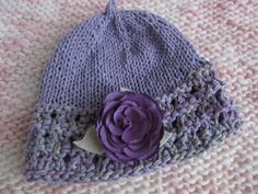 Lavender and Light Green Cotton Handknit Child's Hat With Purple Flower. Chemo Cap, OOAK by SusanDeanne on Etsy