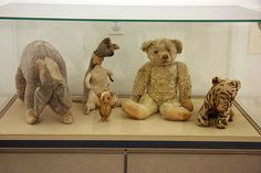 The original Eeyore, Kanga, Piglet, Pooh Bear, and Tigger. They are on display at the New York Public Library.