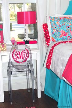 Lilly pulitzer dorm room monogram chair for outlet sale bedroom decoration preppy cute Teen Girl Bedding, Girls Bedroom, Bedroom Decor, Queen Bedding, Bedroom Ideas, Lily Pulitzer Bedding, Lilly Pulitzer, Dorm Room Chairs, Office Chairs