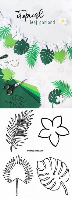 Luau or summer party coming up? Your party decor wouldn't be complete without this DIY Tropical Leaf Garland! Plus, learning how to create your own paper ferns and fauna is sure to become your new favorite craft technique. Recipes With Fruit Cocktail, Deco Jungle, Jungle Theme, Jungle Party, Safari Theme, Papier Diy, Diy Y Manualidades, Flamingo Party, Leaf Garland