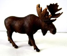 Schleich Animal Figure Wild Bull Moose 2002 Brown Germany #schleich #moose