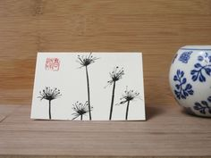 Ink drawing small greeting card of dry Fennel by InkFlower on Etsy, $3.50