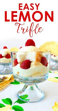 A simple whipped lemon trifle recipe layered dessert you can whip up in no time! Made with layers of pound cake, raspberries and a delicious lemon filling. Omit cake for low-carb dessert. Mini Desserts, Layered Desserts, Easy No Bake Desserts, Low Carb Desserts, Lemon Desserts, Cold Desserts, Baking Desserts, Oreo Dessert, Dip Recipes