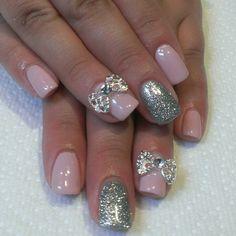 Wedding nails w/rinestone bows