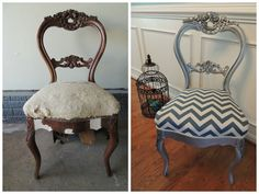 Antique Victorian balloon back parlor chair painted with Rustoleum Bright Coat Silver, Valspar antiquing glaze & reupholstered with a denim blue chevron print!