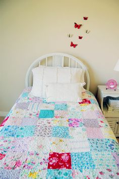 the butterflies, the bed spread