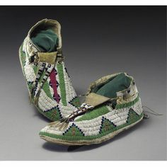A Pair of Plains Beaded Hide Moccasins | Lot | Sotheby's