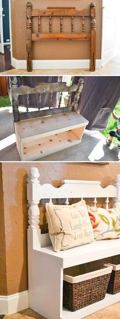 Awesome Ways to Give a Makeover to a Small Entryway Entryway bench made from an old headboard and some boards.Entryway bench made from an old headboard and some boards. Furniture Projects, Home Projects, Diy Furniture, Farmhouse Furniture, Furniture Stores, Antique Furniture, Farmhouse Bench, Coastal Furniture, Furniture Plans