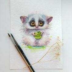 — Евгения Соловьева (@genechka_djogan) в Instagram: «Галаго для #doodlasticjul )» #pet  #aquarela #watercolor #art #paint #painting #draw #drawing #animal #illustration #inspiration #cute #galago