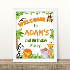Personalized Printable Welcome Birthday Table Sign, Welcome to the jungle Birthday Sign, Welcome Jungle Safari Birthday Sign, Party Sign