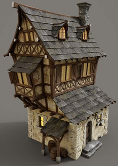 Building Rendering, Building Concept, Medieval Houses, Medieval Town, Medieval Fantasy, Diy Gazebo, Planet Coaster, Toy House, Fantasy House