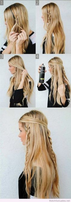 Easy braided hairstyle for long hair