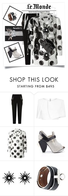 """""""What's black & white and read all over the world....a newspaper"""" by kjlnelson ❤ liked on Polyvore featuring Balenciaga, Maticevski, Dolce&Gabbana, Abcense, Christina Debs, Givenchy and Yves Saint Laurent"""