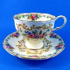 Pretty Tapered Minuet Paragon Tea Cup and Saucer Set